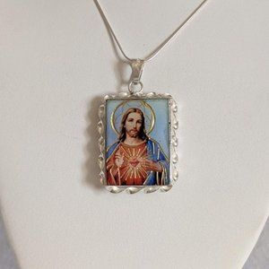 NWT Sterling Silver Jesus & Mary Flower Necklace